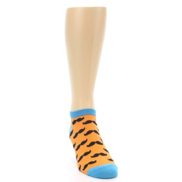Image of Orange Black Mustache Men's Ankle Socks (side-1-front-03)