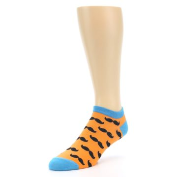 Image of Orange Black Mustache Men's Ankle Socks (side-2-front-08)