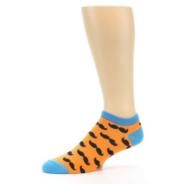Image of Orange Black Mustache Men's Ankle Socks (side-2-10)