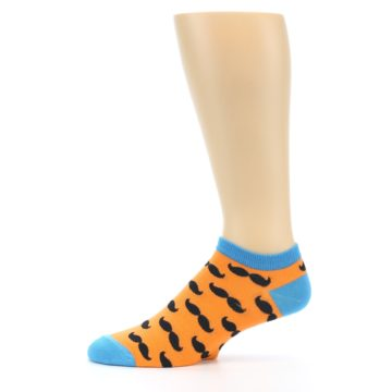 Image of Orange Black Mustache Men's Ankle Socks (side-2-11)