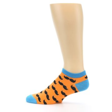 Image of Orange Black Mustache Men's Ankle Socks (side-2-12)