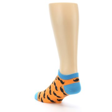 Image of Orange Black Mustache Men's Ankle Socks (side-2-back-15)