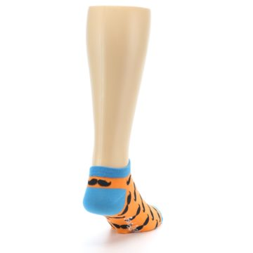 Image of Orange Black Mustache Men's Ankle Socks (side-1-back-20)