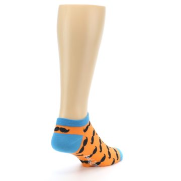 Image of Orange Black Mustache Men's Ankle Socks (side-1-back-21)