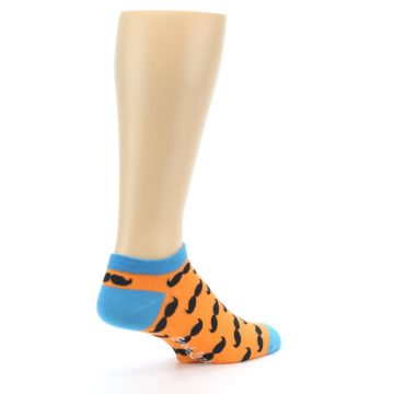 Image of Orange Black Mustache Men's Ankle Socks (side-1-back-22)