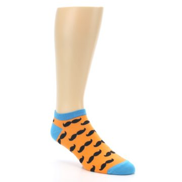 Image of Orange Black Mustache Men's Ankle Socks (side-1-27)