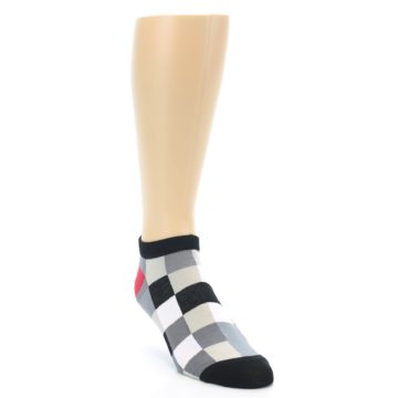 Image of Black White Grey Checkered Men's Ankle Socks (side-1-front-02)