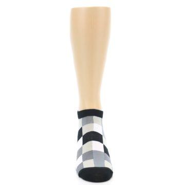 Image of Black White Grey Checkered Men's Ankle Socks (front-04)
