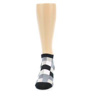 Image of Black White Grey Checkered Men's Ankle Socks (front-05)