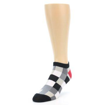Image of Black White Grey Checkered Men's Ankle Socks (side-2-front-07)