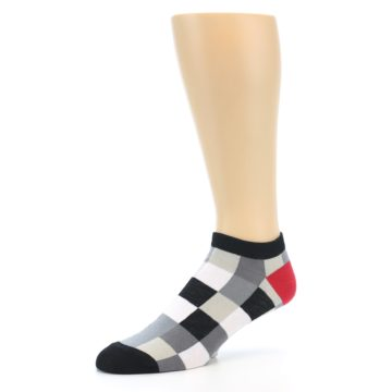 Image of Black White Grey Checkered Men's Ankle Socks (side-2-09)