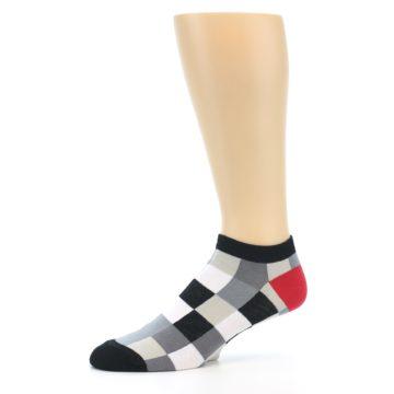 Image of Black White Grey Checkered Men's Ankle Socks (side-2-10)