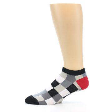 Image of Black White Grey Checkered Men's Ankle Socks (side-2-11)