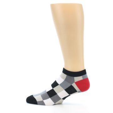 Image of Black White Grey Checkered Men's Ankle Socks (side-2-12)