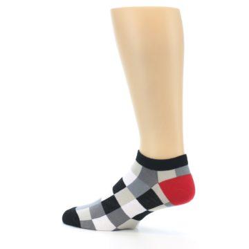 Image of Black White Grey Checkered Men's Ankle Socks (side-2-13)