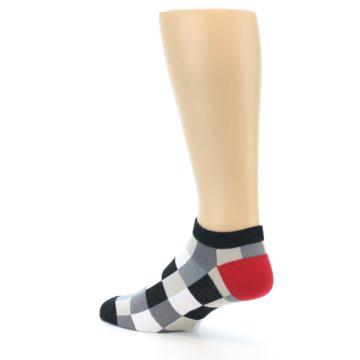 Image of Black White Grey Checkered Men's Ankle Socks (side-2-back-14)