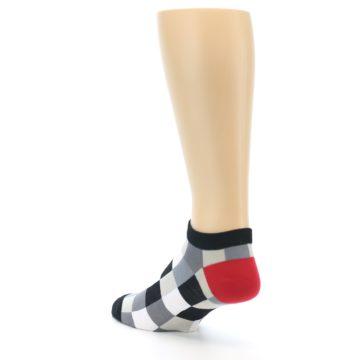 Image of Black White Grey Checkered Men's Ankle Socks (side-2-back-15)