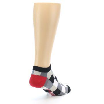 Image of Black White Grey Checkered Men's Ankle Socks (side-1-back-21)