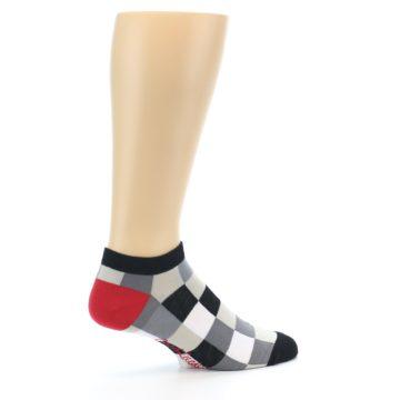 Image of Black White Grey Checkered Men's Ankle Socks (side-1-23)