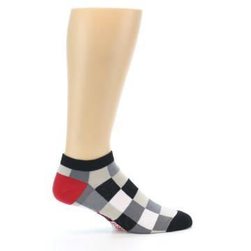 Image of Black White Grey Checkered Men's Ankle Socks (side-1-24)