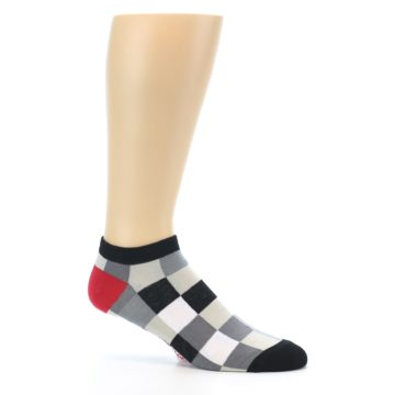 Image of Black White Grey Checkered Men's Ankle Socks (side-1-25)