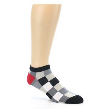 Image of Black White Grey Checkered Men's Ankle Socks (side-1-26)