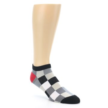 Image of Black White Grey Checkered Men's Ankle Socks (side-1-27)