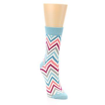Image of Pink Blue Grey Zig-Zag Stripe Women's Dress Socks (side-1-front-02)