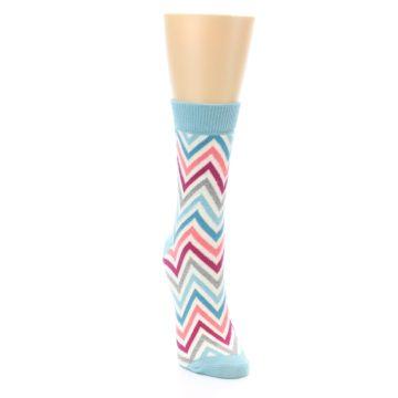 Image of Pink Blue Grey Zig-Zag Stripe Women's Dress Socks (side-1-front-03)