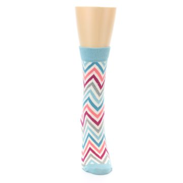 Image of Pink Blue Grey Zig-Zag Stripe Women's Dress Socks (front-04)