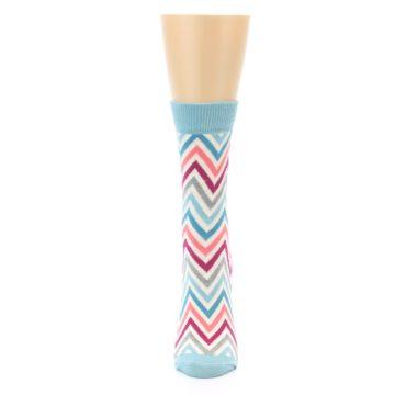 Image of Pink Blue Grey Zig-Zag Stripe Women's Dress Socks (front-05)