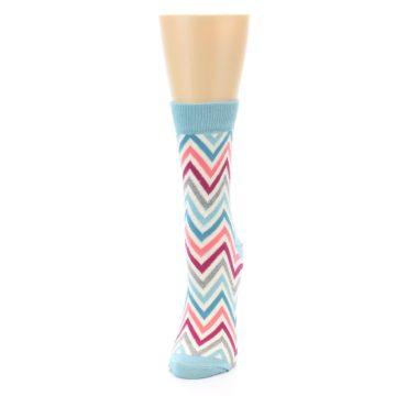 Image of Pink Blue Grey Zig-Zag Stripe Women's Dress Socks (side-2-front-06)
