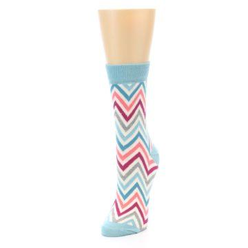 Image of Pink Blue Grey Zig-Zag Stripe Women's Dress Socks (side-2-front-07)