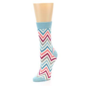 Image of Pink Blue Grey Zig-Zag Stripe Women's Dress Socks (side-2-front-08)