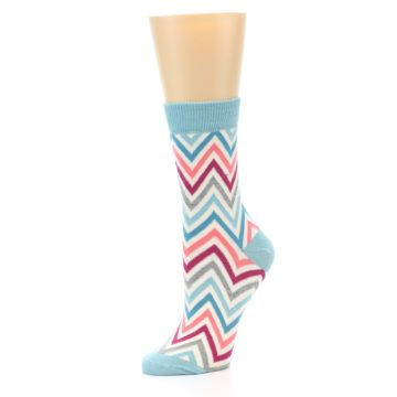 Image of Pink Blue Grey Zig-Zag Stripe Women's Dress Socks (side-2-09)