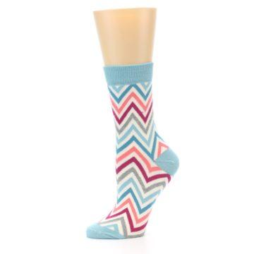 Image of Pink Blue Grey Zig-Zag Stripe Women's Dress Socks (side-2-10)