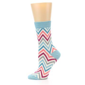 Image of Pink Blue Grey Zig-Zag Stripe Women's Dress Socks (side-2-11)