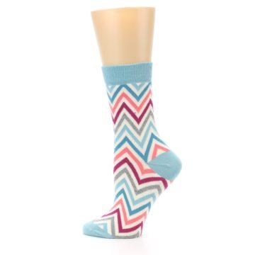 Image of Pink Blue Grey Zig-Zag Stripe Women's Dress Socks (side-2-12)