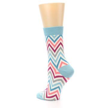 Image of Pink Blue Grey Zig-Zag Stripe Women's Dress Socks (side-2-back-14)