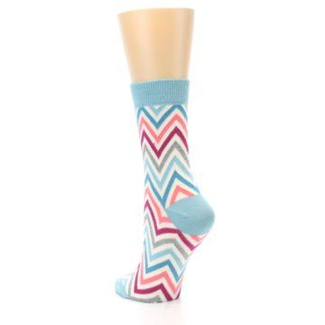 Image of Pink Blue Grey Zig-Zag Stripe Women's Dress Socks (side-2-back-15)