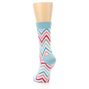 Image of Pink Blue Grey Zig-Zag Stripe Women's Dress Socks (side-2-back-16)