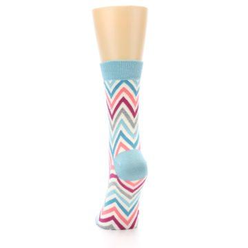 Image of Pink Blue Grey Zig-Zag Stripe Women's Dress Socks (back-17)