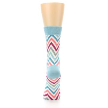 Image of Pink Blue Grey Zig-Zag Stripe Women's Dress Socks (back-18)