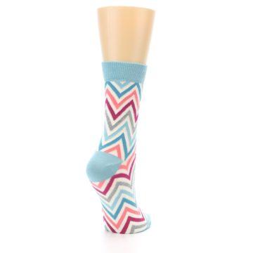 Image of Pink Blue Grey Zig-Zag Stripe Women's Dress Socks (side-1-back-21)
