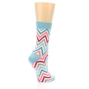 Image of Pink Blue Grey Zig-Zag Stripe Women's Dress Socks (side-1-back-22)