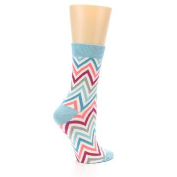 Image of Pink Blue Grey Zig-Zag Stripe Women's Dress Socks (side-1-23)