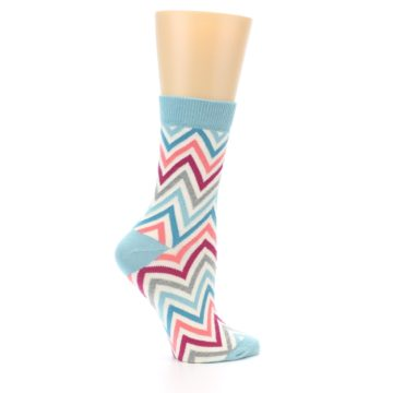 Image of Pink Blue Grey Zig-Zag Stripe Women's Dress Socks (side-1-24)