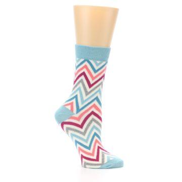 Image of Pink Blue Grey Zig-Zag Stripe Women's Dress Socks (side-1-25)