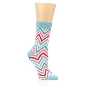 Image of Pink Blue Grey Zig-Zag Stripe Women's Dress Socks (side-1-26)