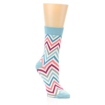 Image of Pink Blue Grey Zig-Zag Stripe Women's Dress Socks (side-1-27)